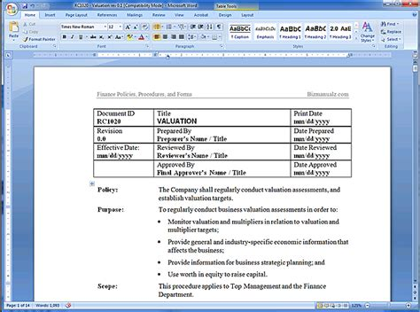 procedure template word financial policy manual
