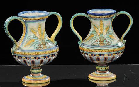 vasi ceramica deruta coppia di vasi biansati in ceramica policroma deruta
