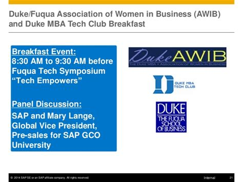 Duke Mba Organizations by Sap Corporate Education Session Fuqua Marketing Club