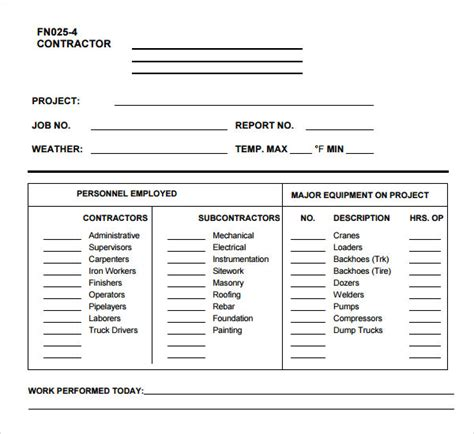 daily construction log template work log template 5 free pdf doc