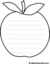 apple outline shape writing paper coloring page