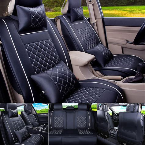 front seat of car called car seat cover pu leather front rear 5 seats auto size m