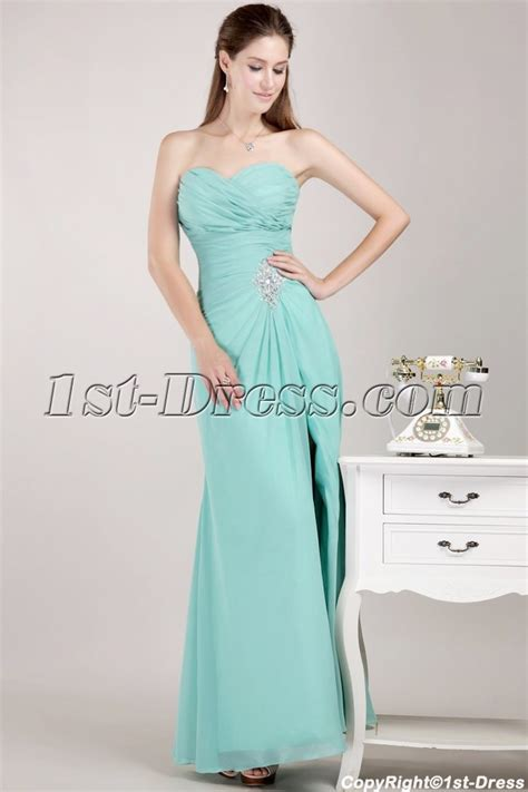 Sweetheart Apple Green Masquerade Prom Gown Dress with Slit:1st dress.com