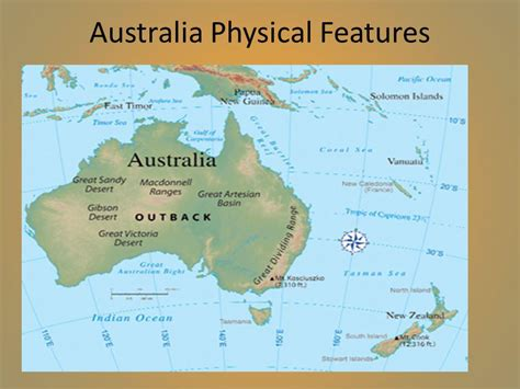 australia geographical features map australia geography ppt