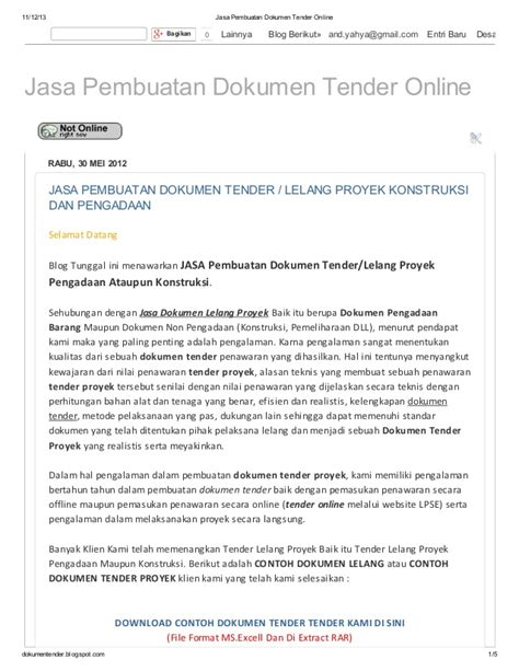 contoh contoh dokumen tender proyek the knownledge