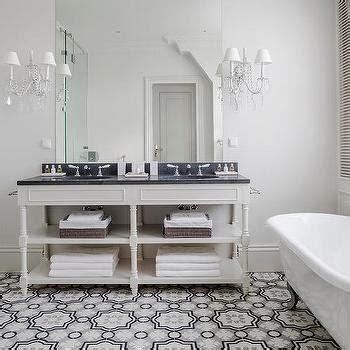 Cream and Gray Moroccan Floor Tiles, Transitional, Bathroom