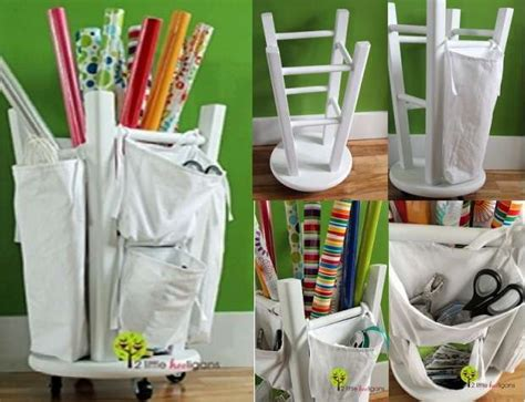 diy gift wrapping diy gift wrapping station from a stool