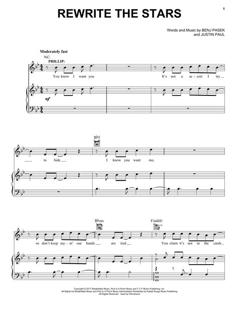 Pasek & Paul   Rewrite The Stars (from The Greatest Showman) sheet music