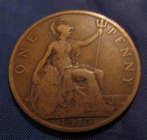 values of british one penny copper coins with queen 100 years old 1913 penny english british bronze coin