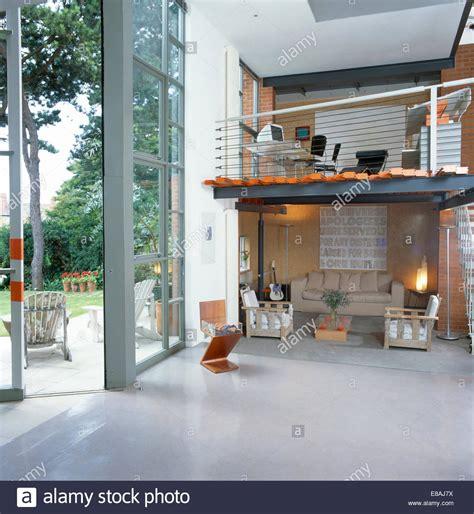 Living Room Window Height From Floor Home Office On Floor Above Living Room In Large Open Plan