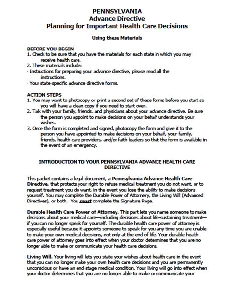 Pennsylvania Medical Power Of Attorney Form Power Of Attorney Power Of Attorney Will Template Pa