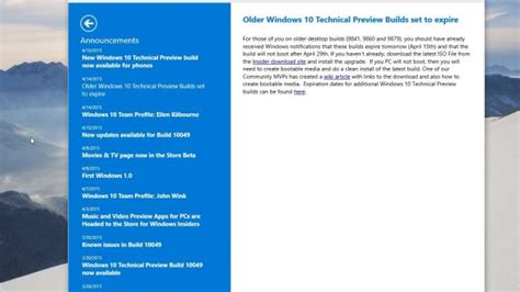 announcing the first build of windows 10 technical preview old windows 10 versions will expire today stop working in