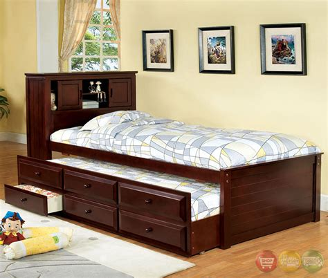 twin captains bed with bookcase headboard south land cherry platform captain twin bed with bookcase