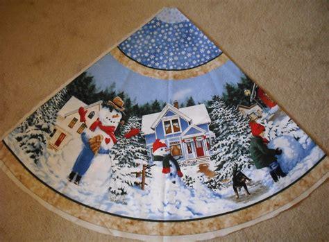 fabric christmas tree skirt panels sloane prints snow days 2