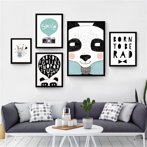 Poster Only Hiasan Dindingdekorasi Ruangan Black White Nordic Minimalist Animal Quotes Canvas