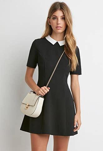 White Texture Collar Dress Size Sml black skater dress with white collar