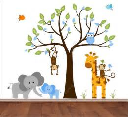 Jungle Wall Decals For Nursery Items Similar To Jungle Wall Decal Tree With And Baby Boy Elephant Monkey Giraffe