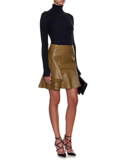 Zip Ruffle Faux Leather Skirt leather frill skirt fashion skirts