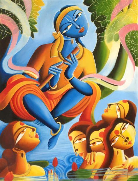 How To Paint A Mural On A Wall krishna radha indian art handmade modern hindu oil on