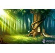 Cartoon Tree  House Sunbeams In Forest