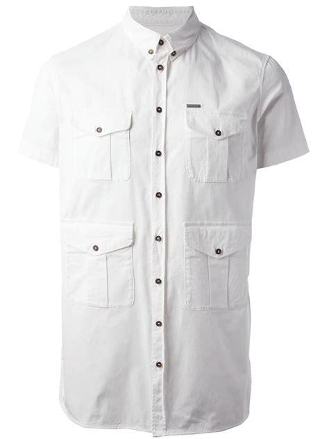 White Zipper Pocket Shirt 2 dsquared 178 pocket detailed shirt in white for lyst