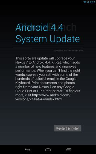 Android 4 4 Kitkat Update For Nexus 7 2012 Wi Fi Now Available In India Phonebunch