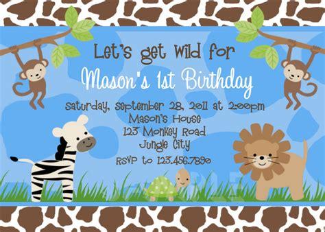 jungle themed 1st birthday invitations safari themed