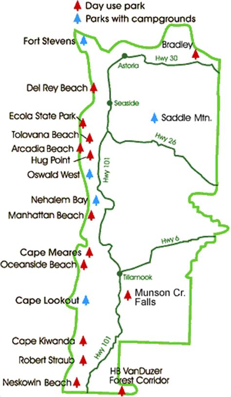 map of oregon coast state parks northern oregon coast state parks