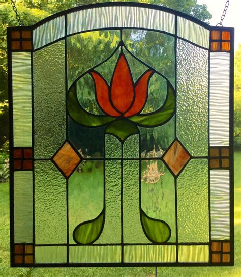 craftsman stained glass craftsman missions stained glass window panel arts and crafts