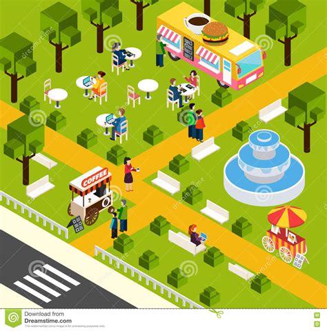 food truck park design street fast food truck isometric banner stock vector