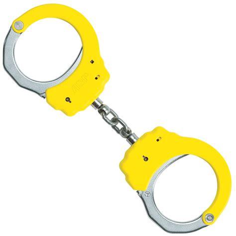 yellow handcuffs asp lock stainless steel chain handcuffs yellow