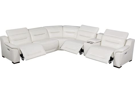 White Leather Reclining Sectional by Sofia Vergara Gallia White Leather 6 Pc Power Plus