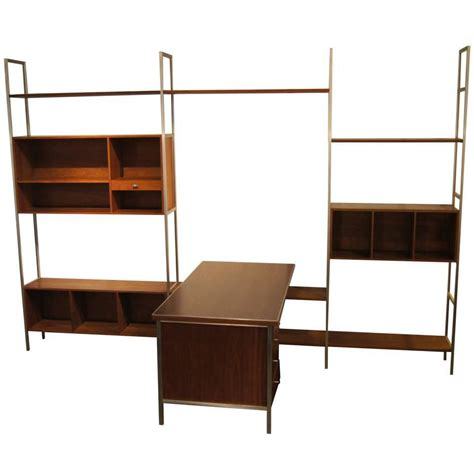 modular wall shelves walnut modular wall shelving system with desk by paul mccobb for h sacks for sale at 1stdibs