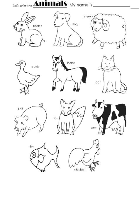 Animal Pictures For To Color by Animals Color