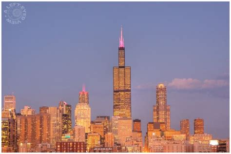 chicago skyline buildings identified quot go west young man quot dusk s reflection cityscape