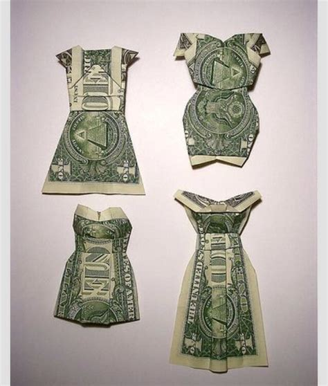 Origami Dress Money - fold a dollar into a dress trusper