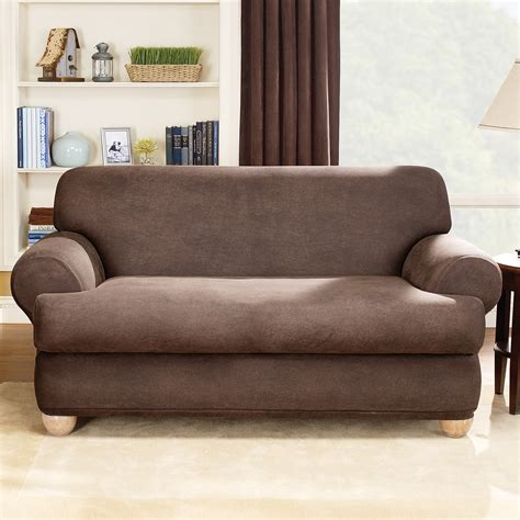 leather sofa slipcover sure fit stretch leather t cushion two sofa