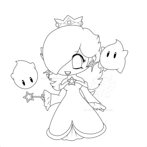 Chibi Rosalina Lines By Lady Zelda Of Hyrule On Deviantart Anime Chibi Coloring Pages Princesses Printable