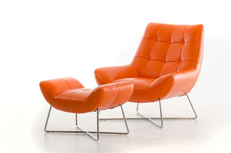 modern leather chair and ottoman divani casa istra modern orange leather lounge chair ottoman
