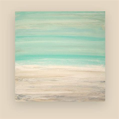 painting acrylic abstract art on canvas beach shabby chic titled the beach 30x30x1 5 quot by ora