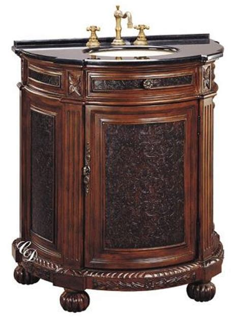 29 inch single sink vanity cabinet with antiqued brown