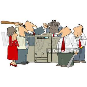 where can i find a copy machine clipart of a frustrated white and black employee office