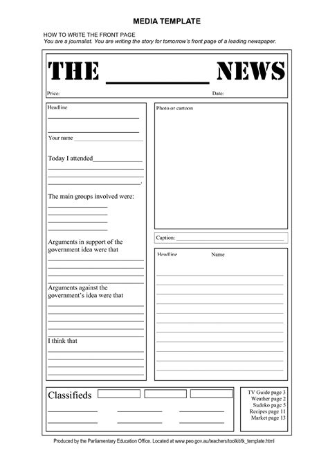 Free Printable Newspaper Template For Students by Blank Newspaper Template E Commercewordpress