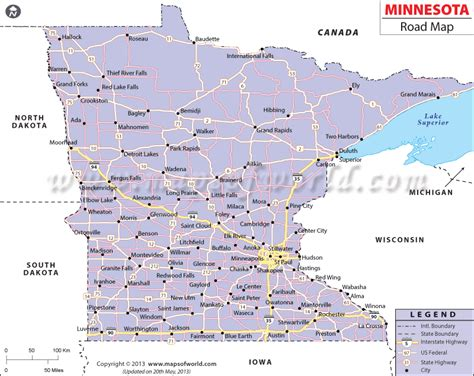 minnesota on the map of usa minnesota road map