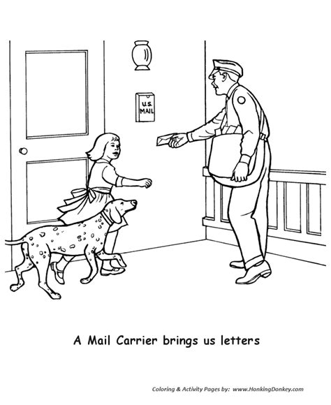 mail carrier coloring sheet coloring pages