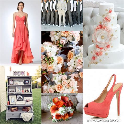 coral  gray wedding colors  inspiration perfect