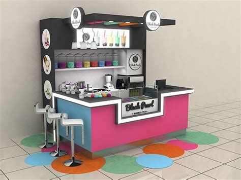 design booth bubble tea blackpearl bubble tea shopping mall stand agent on behance