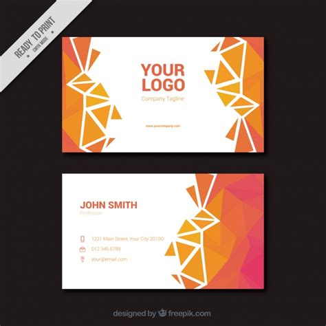 card template freepik polygonal business card in pink and orange tones vector