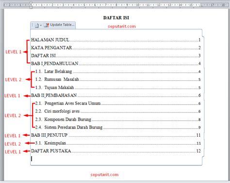 membuat makalah dengan microsoft word cara cepat membuat daftar isi makalah otomatis di