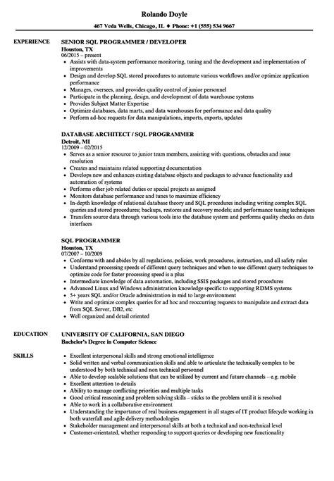Sql Programmer Resume by Sql Programmer Sle Resume Promotion Resume Sle